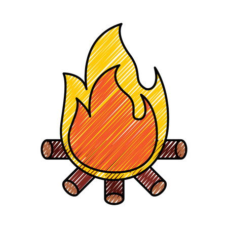burning bonfire flame with wooden sticks vector illustration drawing graphic Illustration