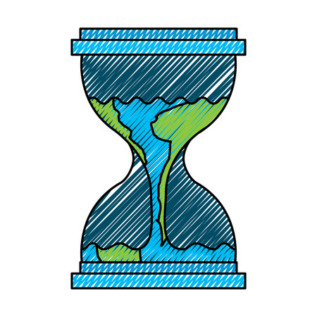 Hourglass with planet earth flowing melting illustration Vectores