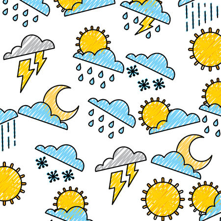 Weather clouds sun moon storm lightning rain drops background vector illustration drawing graphic