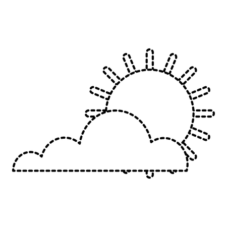 Sun cloud weather summer hot forecast vector illustration dotted line graphic Ilustrace