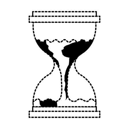 Hourglass with a earth globe flowing melting vector illustration dotted line graphic