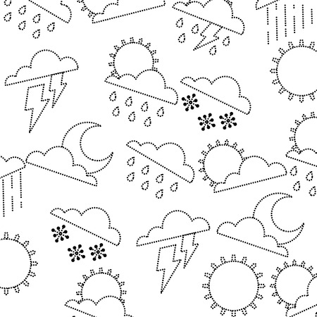 Weather clouds sun moon storm lightning rain drops background vector illustration dotted line graphic Illusztráció