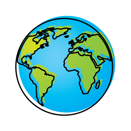 Globe world earth planet map icon vector illustration Illusztráció