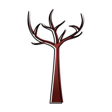 죽은 가지 마른 생태 벡터 일러스트와 함께 나무