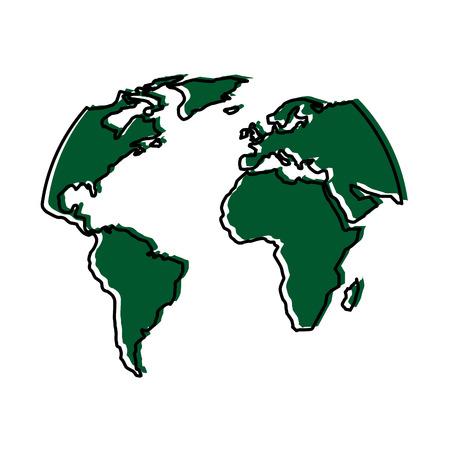 Silhouette world map location planet vector illustration