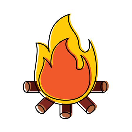 Flamme flamme brûlante avec des bâtons en bois illustration vectorielle Banque d'images - 96075549