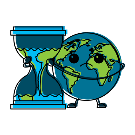 Sad planet earth embracing hourglass clock illustration Иллюстрация