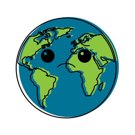 Sad planet earth cartoon illustration