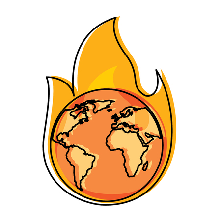 火災惑星上の地球は災害警報ベクトルのイラストを燃やしています  イラスト・ベクター素材