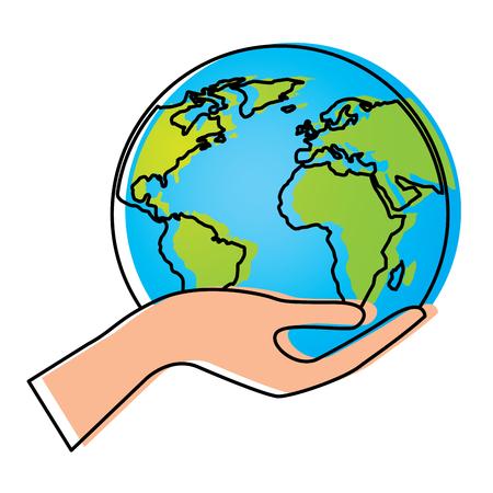 Human hand holding earth globe world vector illustration