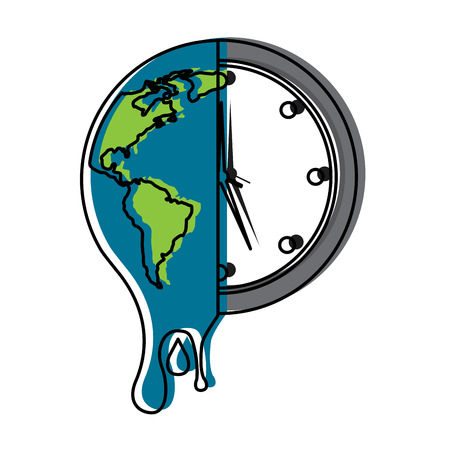 Melting planet earth and clock time environment concept illustration Illustration