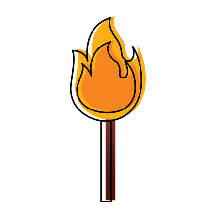 Fire stick burn hot flame icon vector illustration Ilustrace