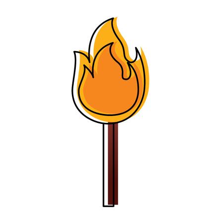 Illustrazione di vettore dell'icona della fiamma calda dell'ustione del bastone del fuoco