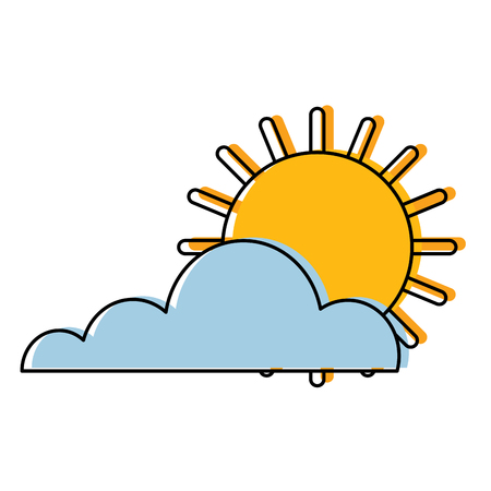 Sun cloud weather summer hot forecast vector illustration