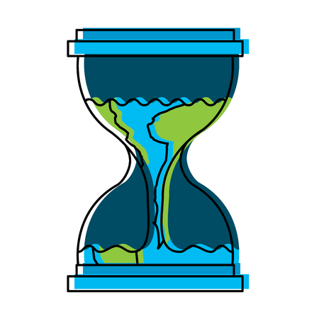 Hourglass with a earth globe flowing melting vector illustration
