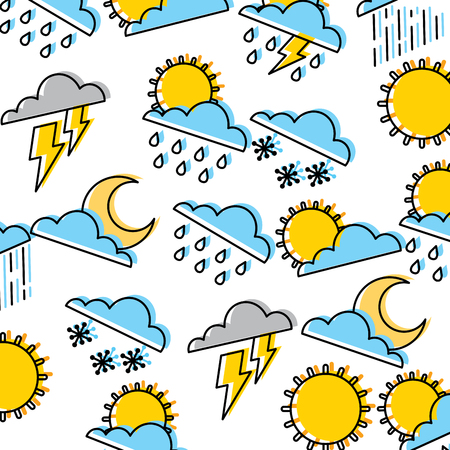 Weather pattern background illustration Stock Vector - 96038475
