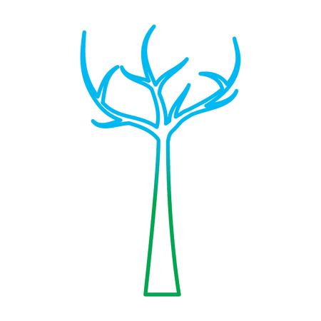 枯れた枝を持つ木ドライエコロジーベクトルイラストは、カラーライングラフィックを劣化させます