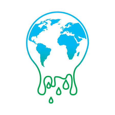 Melting planet earth warming environment concept illustration.