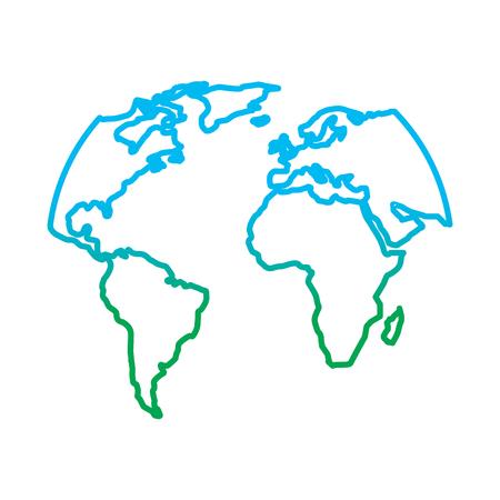 シルエットワールドマップ位置惑星ベクトルイラスト劣化カラーライングラフィック