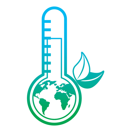 Earth planet inside thermometer leaves environment warning symbol vector illustration degrade color line graphic Illustration