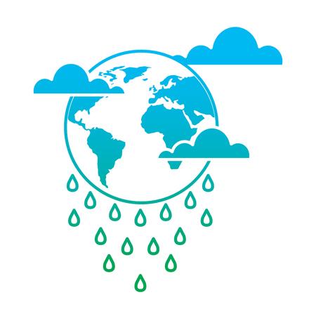 Globe planet world cloud rain storm vector illustration degrade color line graphic Stock Illustratie