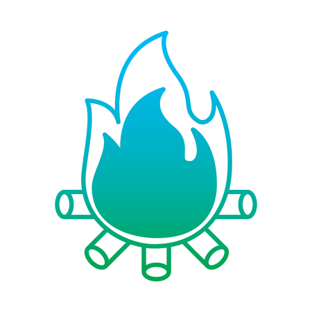 Burning bonfire flame with wooden sticks illustration Vettoriali