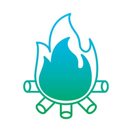 Burning bonfire flame with wooden sticks illustration Illustration