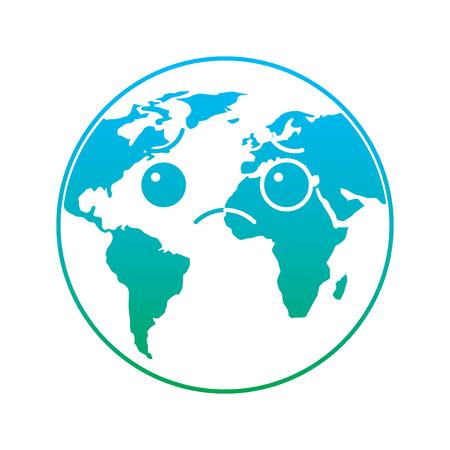 Sad planet earth cartoon illustration. Illustration