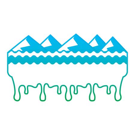 Melting mountains disaster concept illustration
