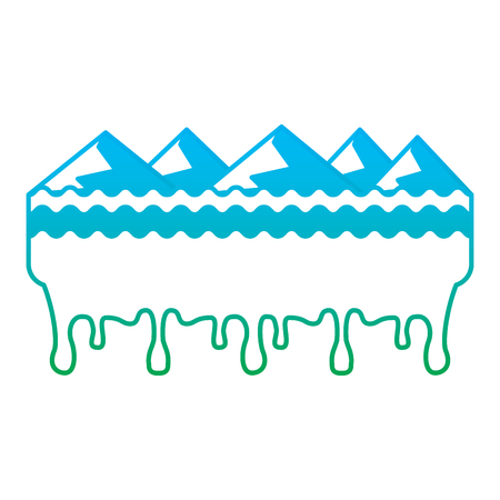 Melting mountains disaster concept illustration