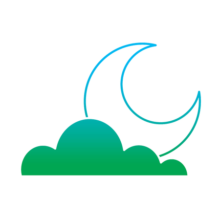 Half moon and green cloud illustration.