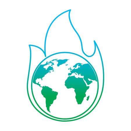 Planet earth on fire disaster warning concept illustration Ilustração