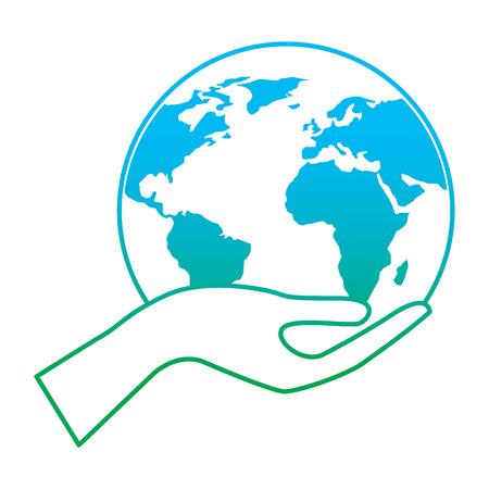 Human hand holding earth illustration.