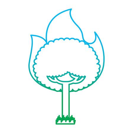 Round fire tree burning damage ecology concept illustration Illustration
