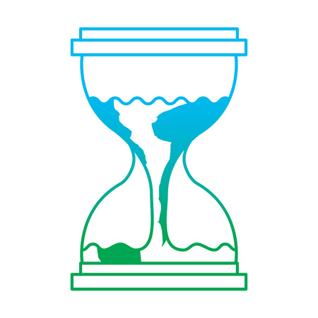 Hourglass with planet earth flowing illustration. Ilustração