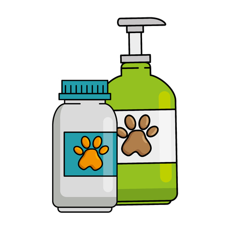 mascot shampoo and vitamins bottles icon vector illustration design