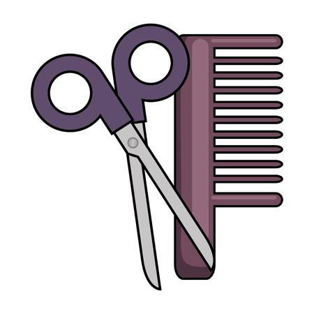 scissors tool with comb vector illustration design Ilustracja