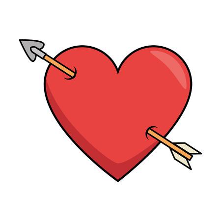 矢印ロマンチックなアイコンベクターイラストデザインと心の愛
