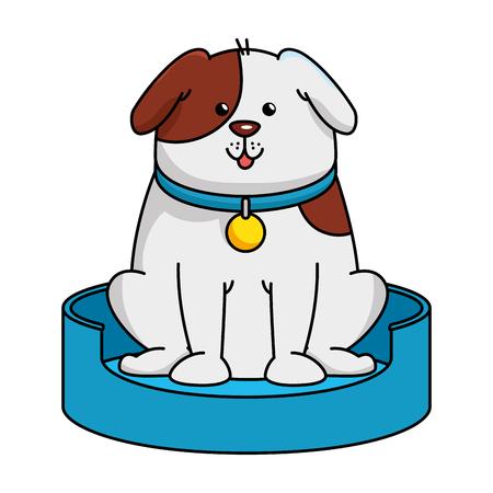 Perro lindo en el diseño de ilustración de vector de mascota de patinaje Foto de archivo - 96042735