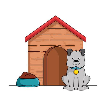 Mascotte de chien mignon avec maison en bois et plat illustration vectorielle de conception de nourriture Banque d'images - 96042739
