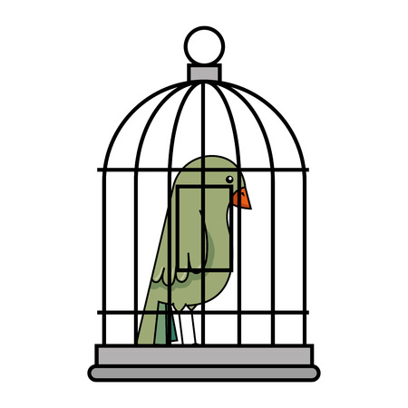 cute bird in cage vector illustration design 스톡 콘텐츠 - 96042741