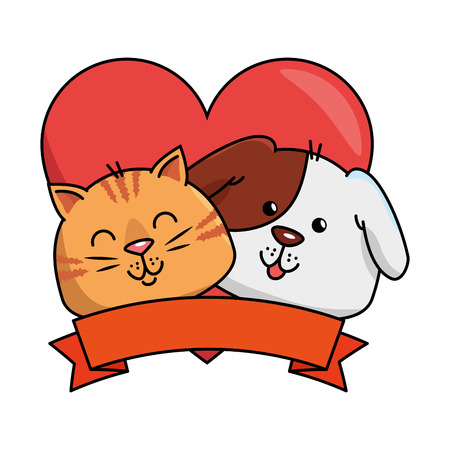 cute dog and cat with ribbon vector illustration design Stock Vector - 96042745