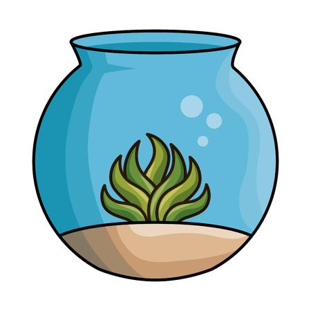 aquarium bowl with algae vector illustration design