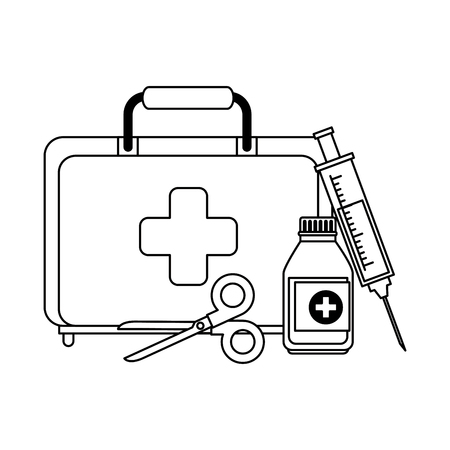 medical kit with scissors and bottle vector illustration design