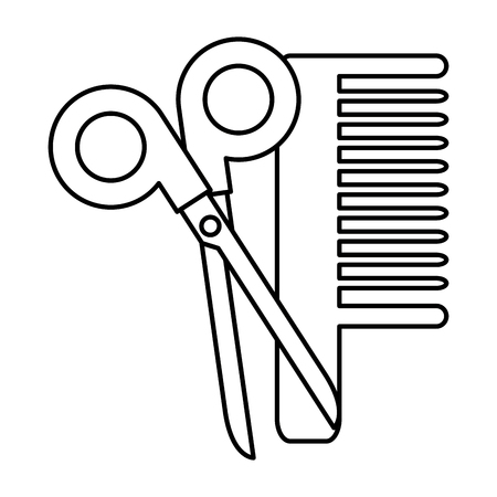 Cute scissors tool with comb vector illustration design Illustration