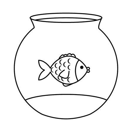 Animale domestico sveglio del pesce nella progettazione dell'illustrazione di vettore dell'acquario Archivio Fotografico - 96163789