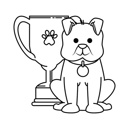 Cute dog with trophy cup mascot vector illustration design Illustration