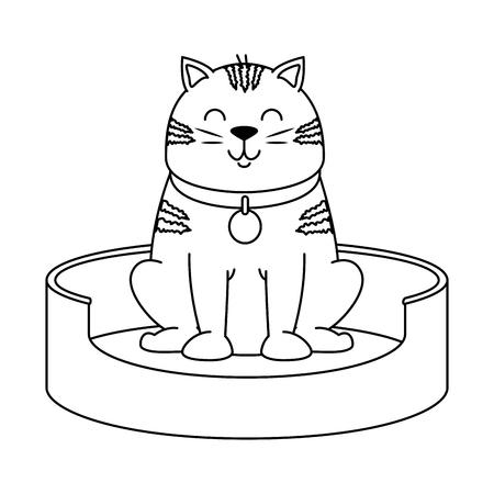 Cute cat in the mattress mascot vector illustration design