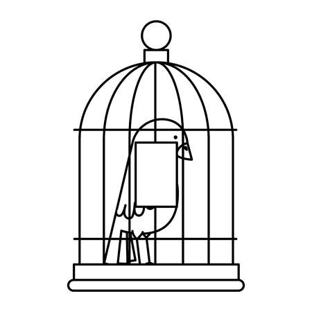 Cute bird in cage vector illustration design 스톡 콘텐츠 - 96163965