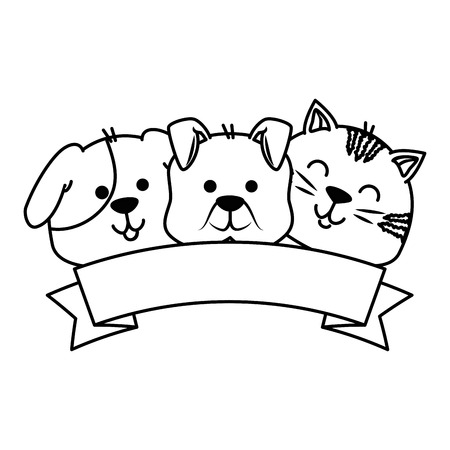 Cute dog and cat with ribbon vector illustration design Stock Vector - 96163971